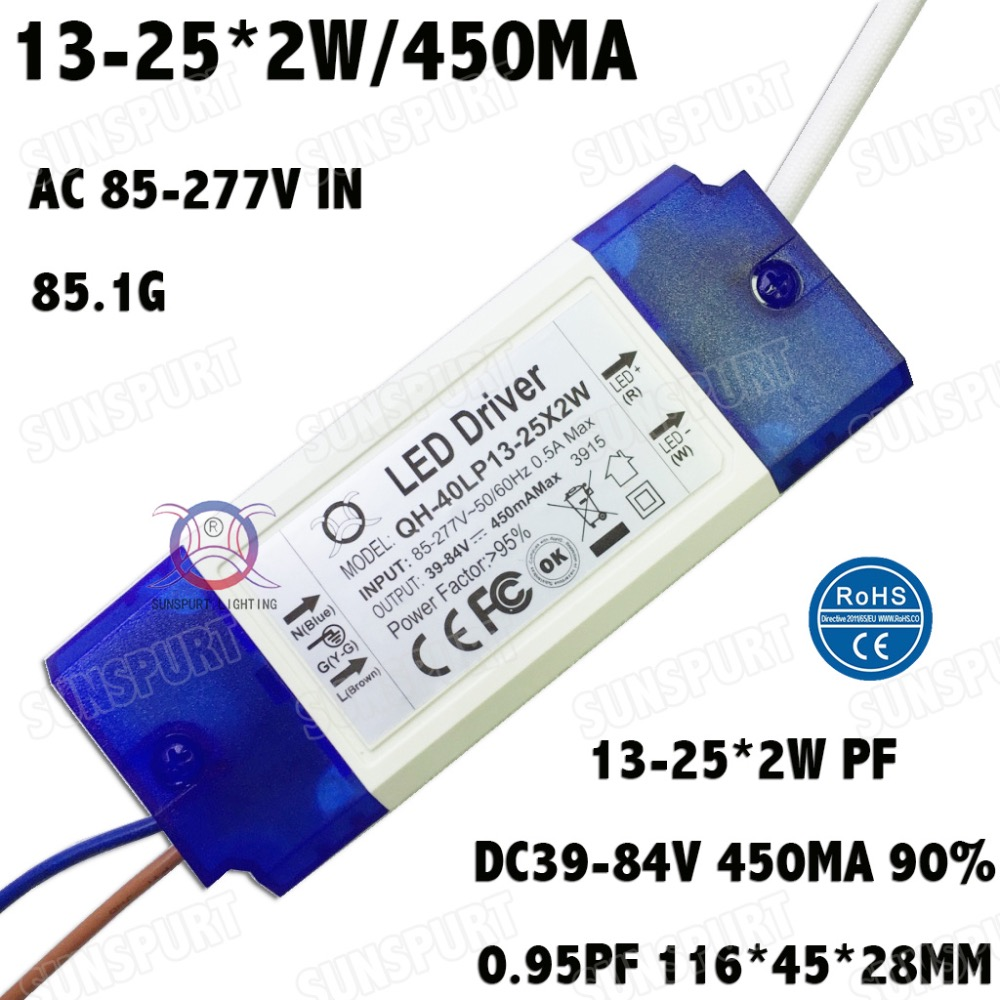 2 Pieces Isolation 36W AC85 277V LED Driver 13 25x2W 450mA DC39 84V LEDPowerSupply Constant Current