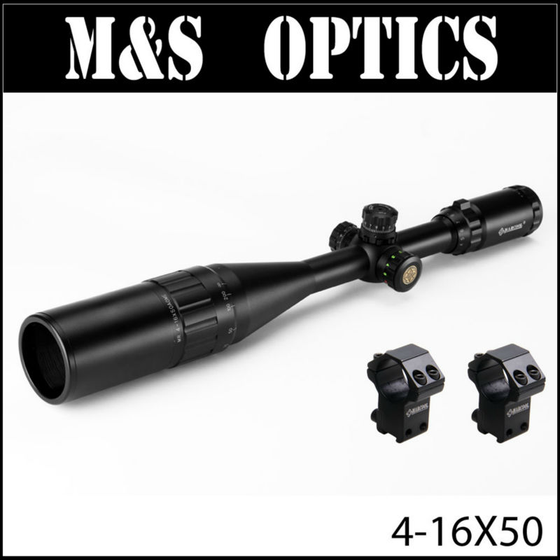 MARCOOL 4-16X50 Red Green Mil Dot Sights Reticel Airsoft Air Guns Hunting Optical Sight Riflescope Scope With Sunshade & Mount marcool alt 4 5 18x44 sfl with big wheel hunting optical sight airsoft air guns scopes riflescope for pistola airsoft air guns