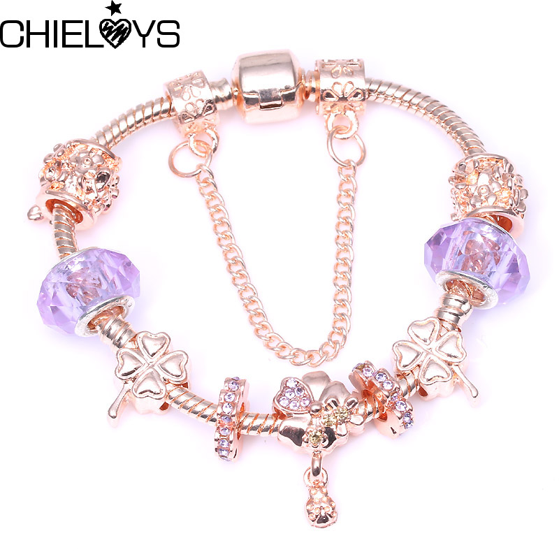 CHIELOYS Vintage Rose Gold Charms Bracelets For Women Wildflower Meadow Charm Pandora Bracelets Pulsera DIY Jewelry BA079