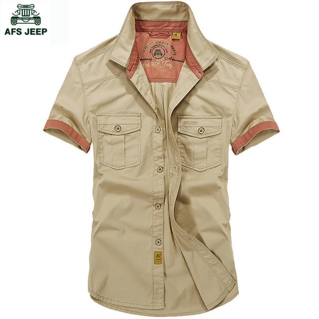 Afs jeep hombres del verano 100% algodón más el tamaño s-5xl camisa buena calidad resistir el desgaste militar camisa de color sólido ocasional delgado shir