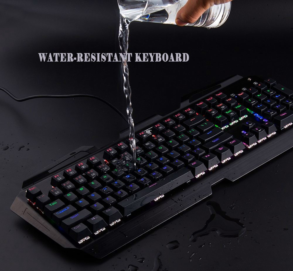 Mechanical Gaming Keyboard Rainbow LED Backlit Ergonomic Anti-Ghosting 104 Keys Wired Gamer Keyboard with Blue Switches X7000