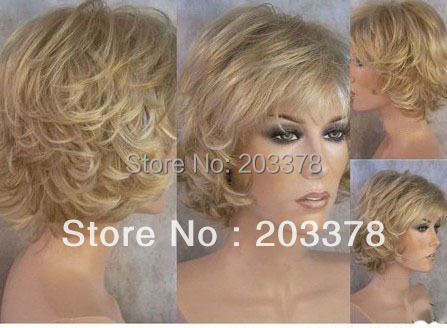 Capless Short High Quality Synthetic Blonde mix Curly Wig Free Shipping
