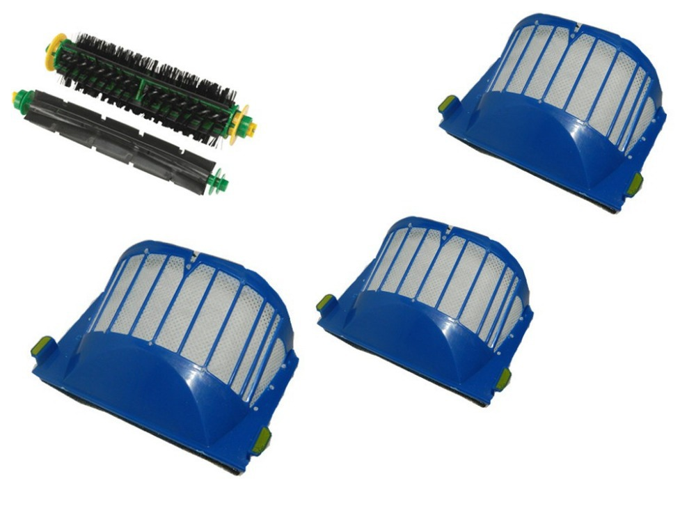 Aerovac Filter+Flexible Beater and Bristle Brush for iRobot Roomba 500 Series with green cleaning head modules bristle brush flexible beater brush fit for irobot roomba 500 600 700 series 550 650 660 760 770 780 790 vacuum cleaner parts