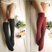 Winter Long Knee Thick Wool Socks Women's Cotton Thigh High