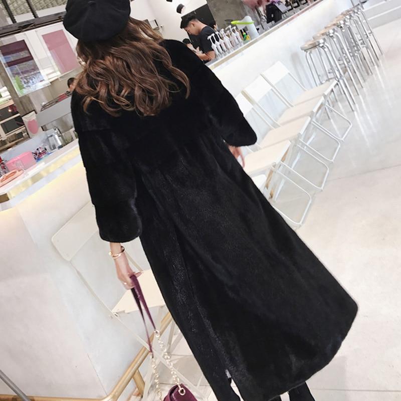 2019 Naturel Fourrure X Manteau long Perte Cygne Velours O Manteaux Usa Import M cou Réel Hiver Fansty Y Noir De Vison Femmes CwnqBt