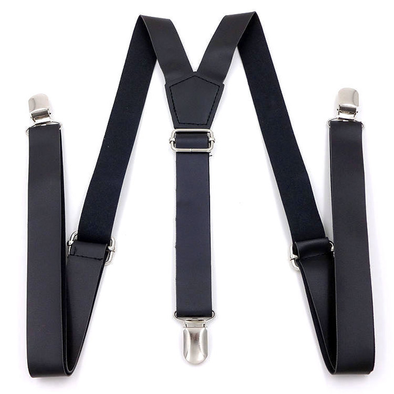 European And American Popular 2.5-* 115cm Three-clip Women's PU Leather Suspenders