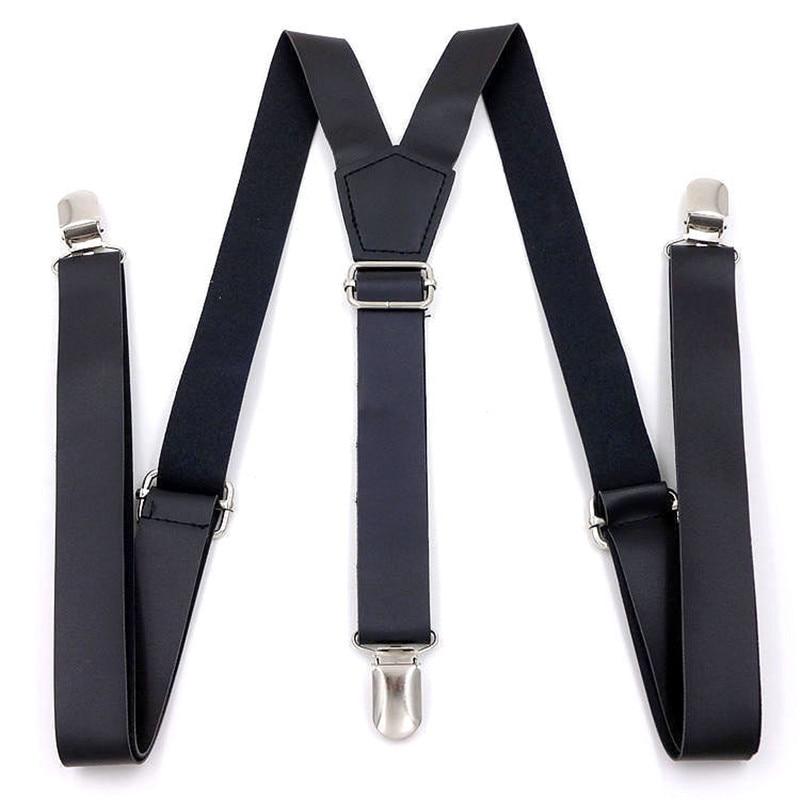 European And American Popular 2.5-* 115cm Three-clip Women's PU Leather Suspenders