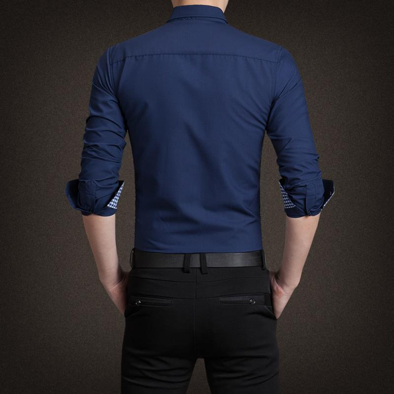 2015 New Cotton Mens Plaid Shirt շքեղ Տղամարդկանց - Տղամարդկանց հագուստ - Լուսանկար 5