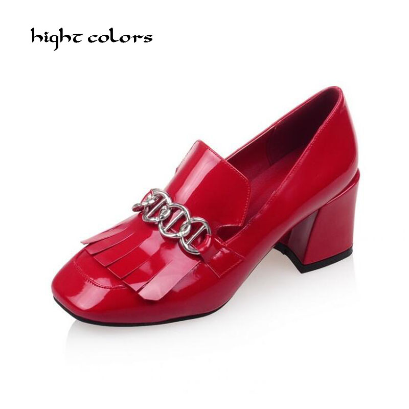 British Style Shallow Mouth Women's Square Toe Thick Heel Red Wedding Shoes Woman Spring Elegant Sexy Chains Designer High Heels buckle strap full grain leather sandals sequined square heel red wine black gladiator woman shoes fashion sexy shallow mouth