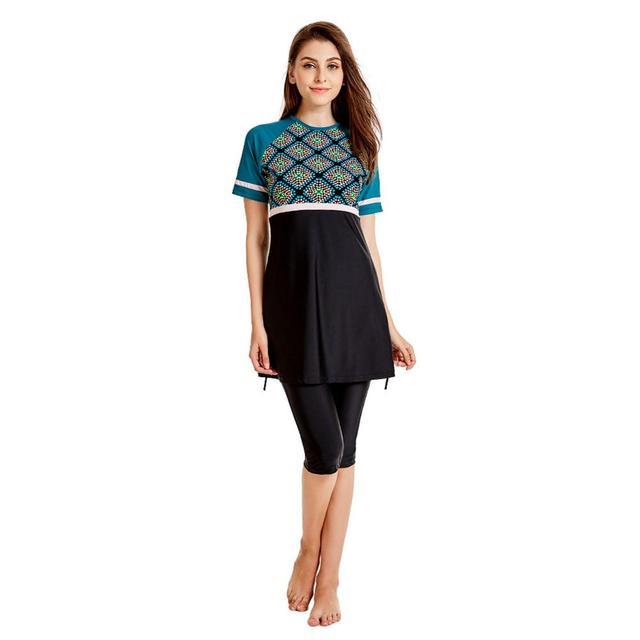 Plus Größe Muslimischen Bademode Frauen Modest Patchwork Volle Abdeckung Kurzarm Badeanzug Islamischen Hijab Islam Burkinis Tragen Badeanzug