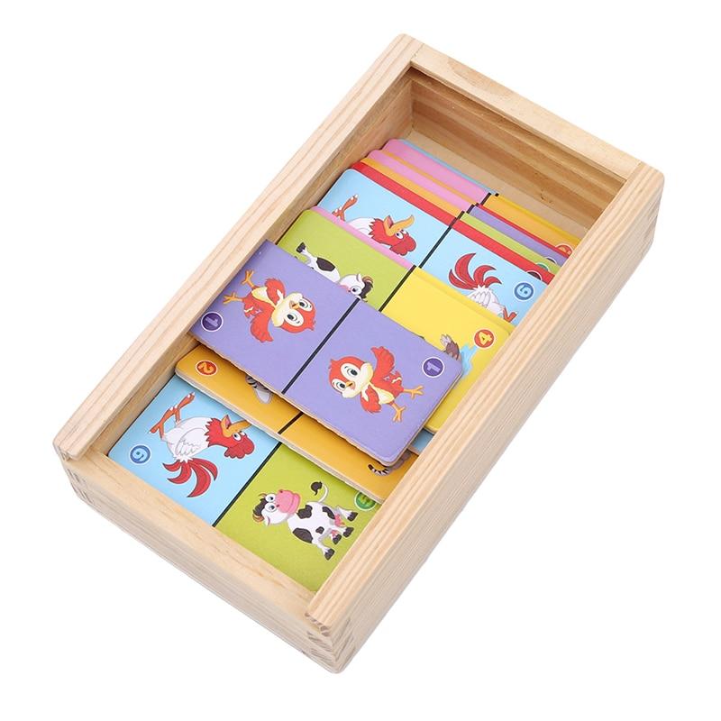 Детские деревянные игрушки настольная игра из высококачественного Бука домино Пасьянс Раннее Обучение познавательное образование игрушки