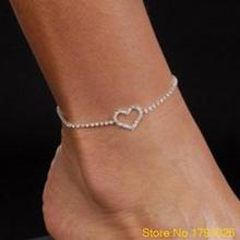 Sexy Lady Heart Rhinestone Anklet Foot Wedding Jewelry Simple Design Ankle Bracelet 4TSA