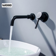 MOIIO Oil Rubbled Black Bathroom Faucet Single Handle Wall Mouned  Water Mixer Tap Hot and Cold Sink Rotation Spout Crane