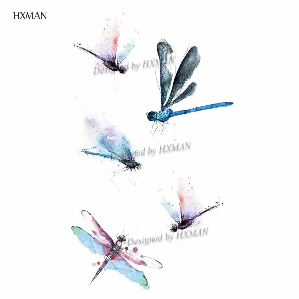 HXMAN Dragonfly Women Temporary Tattoo Sticker Tattoos For Waterproof Men Animal Body Art Kids Hand Fake Tatoo 9.8X6cm A-202