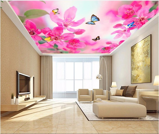 3d ceiling murals wall paper Dream flower butterfly decor painting ...