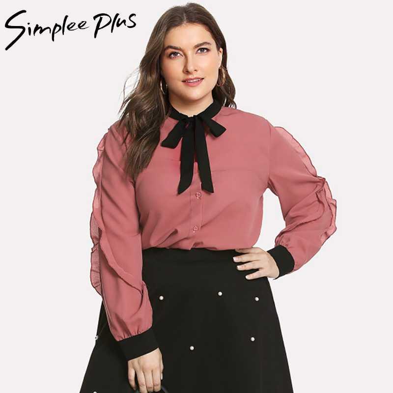 Simplee Plus Women Shirt Chiffon BlouseTops Plus Size Ruffle Long Sleeve  Elegant Office Ladies Blouse Plus ce1359d02a27