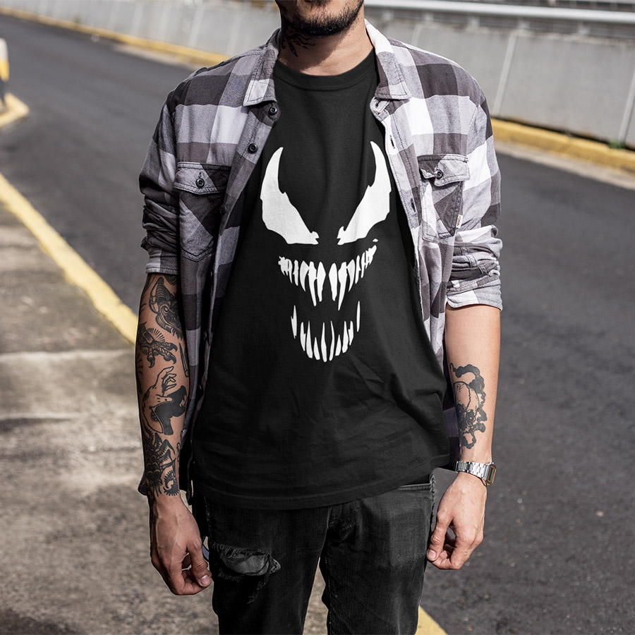 Anime T shirt Harajuku Fashion Tshirt Men Originality Spiderman Cotton Fitness T-shirt EU Size Venom