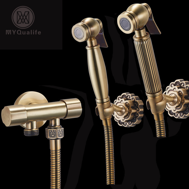 Antique Brass Bidet Faucets Wall Mounted Bathroom Shower Toilet Washing Faucet Tap Cold Water with Handshower Bracket antique brass wall mounted bathroom copper toilet paper roll holder aba079