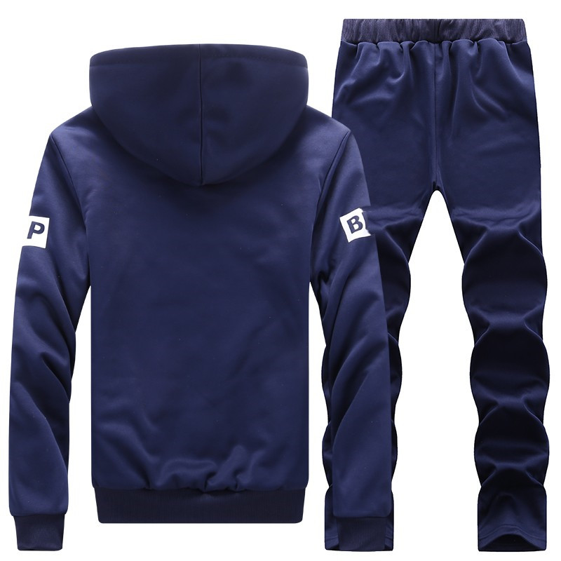 Image 2 - New Sporting Sets Fleece Thick Hooded Brand Clothing Casual Track  Suit Men Jacket Pant Warm Fur Inside Winter SweatshirtMens Sets   -