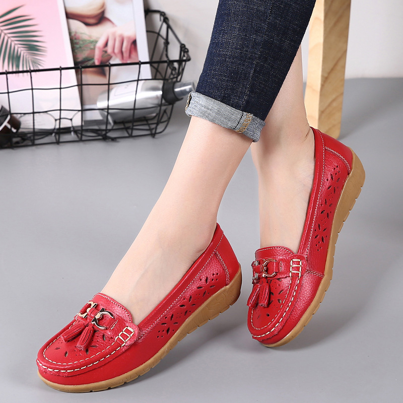 Spring Autumn Shoes Fashion Genuine Leather Women Flats Women's Casual Slip