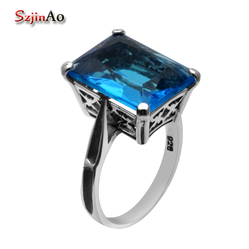 Szjinao 925 Sterling Silver Blue Topaz Ring Blue Stone Rings for Women 925 Sterling Silver Rings for Women WholesaleSzjinao 925 Sterling Silver Blue Topaz Ring Blue Stone Rings for Women 925 Sterling Silver Rings for Women Wholesale