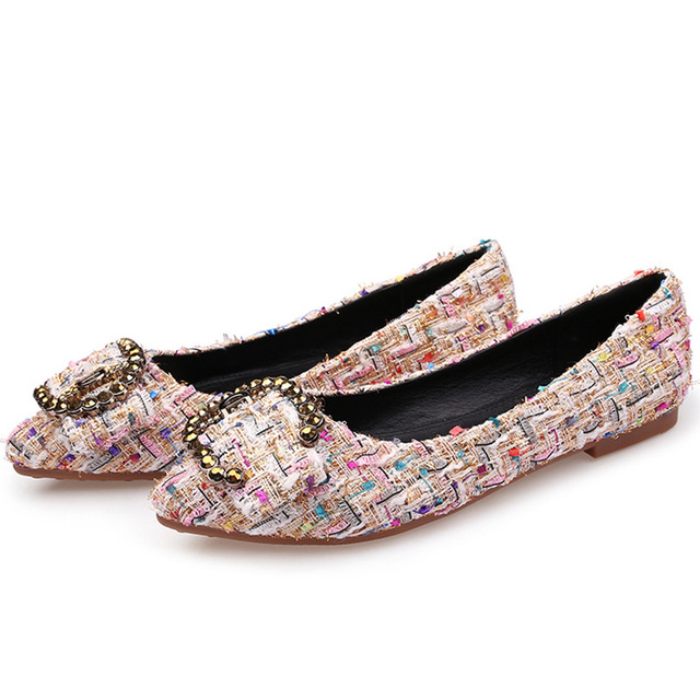 Luxury Brand 2018 Spring Women Crystal Pointed Toe Designer Flats Suede Fashion Rhinestone Black Ballerina Flat Espadrille Shoes