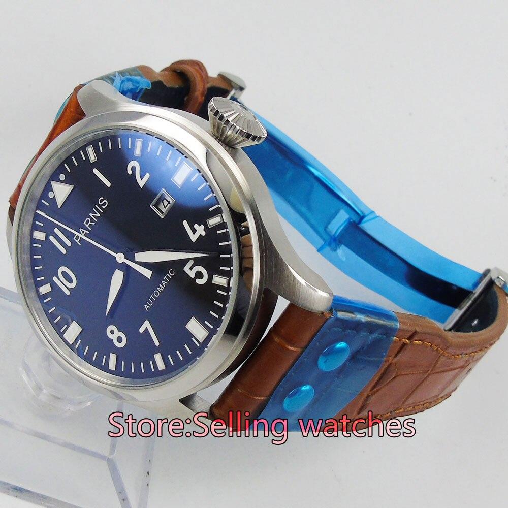 47มิลลิเมตรp arnisสายสีดำบิ๊กมงกุฎวันที่เคลื่อนไหวอัตโนมัติmens watch-ใน นาฬิกาข้อมือกลไก จาก นาฬิกาข้อมือ บน   3
