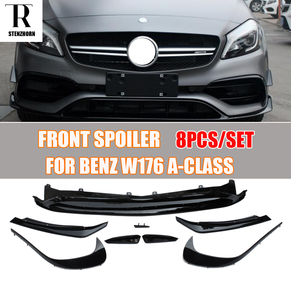 W176 Carbon Fiber Front Lip Spoiler with Side Splitter Canards Apron for Benz A180 <font><b>A200</b></font> A260 & A45 <font><b>Amg</b></font> 2016 2017 2018 image