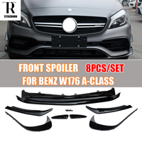 W176 Carbon Fiber Front Lip Spoiler with Side Splitter Canards Apron for Benz A180 A200 A260 & A45 Amg 2016 2017 2018