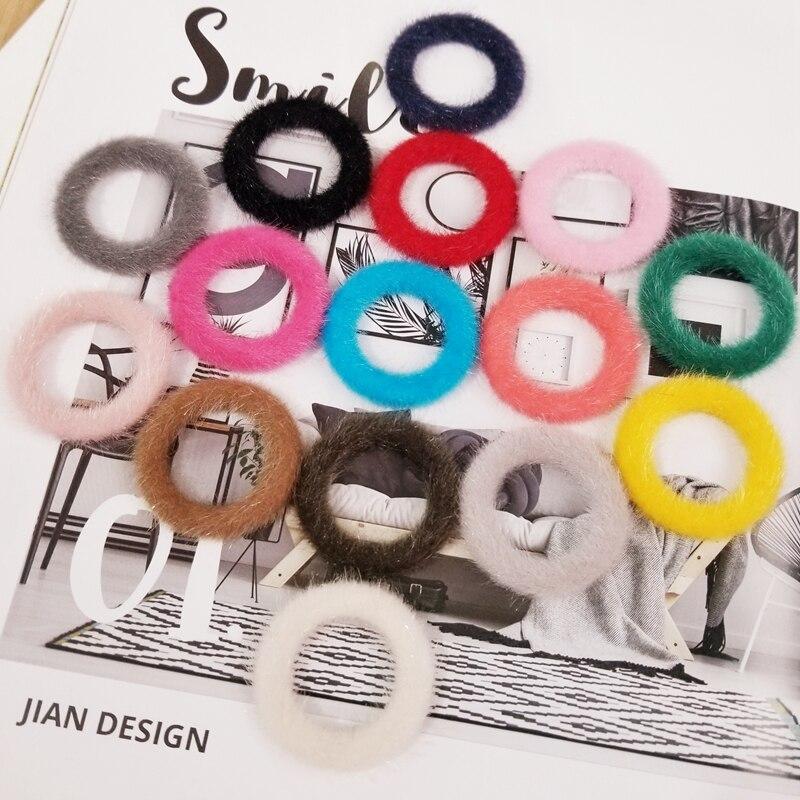 DIY Accessories  Winter Warm Mink Plush Circle Ring Multicolor Earrings Pendant 10 Pieces