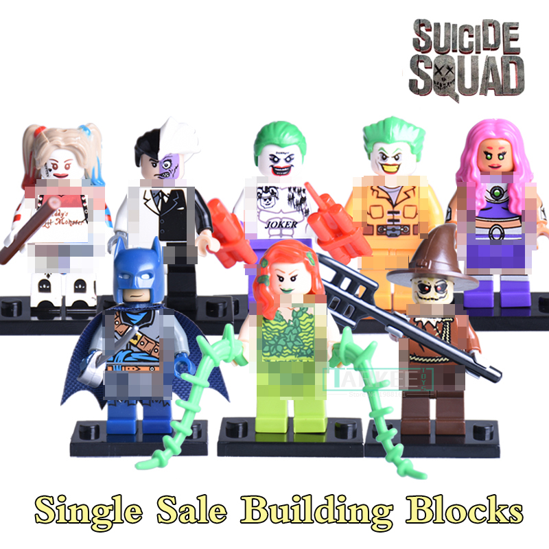 1pc Joker Harley Quinn Suicide Squad Building Blocks SuperHeroes Batman Scarecrow Two Face diy figures Kids DIY Toys Xmas Gift 3pcs set imperial hovertank pilot death trooper shoretrooper diy figures starwars superheroes building blocks new kids toys xmas