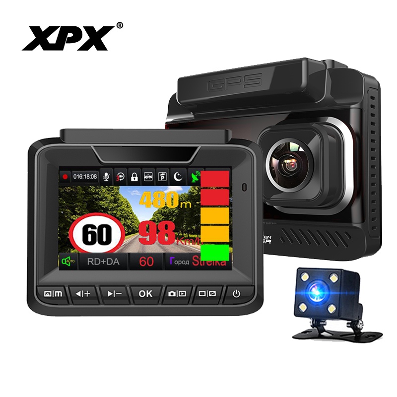 DVR XPX G545-STR Car DVR 3 in 1 Dash cam Rear View Camera Radar detector GPS Full HD G-s ...