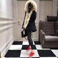 2016 Luxo Inverno Desfile de Moda Preto longo Para Baixo Jaqueta Casaco peludo Com Capuz Grande Hem
