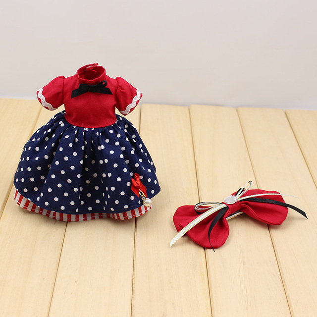 Neo Blythe Doll Red Blue Dress Bow Knot