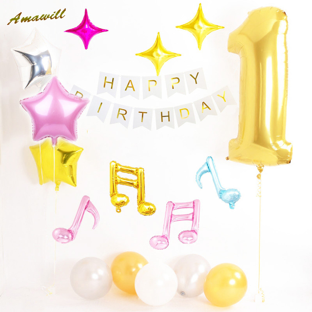 Amwaill First Birthday Party 1st Decorations Gold Number One Balloon Happy Bunting Banner Baby