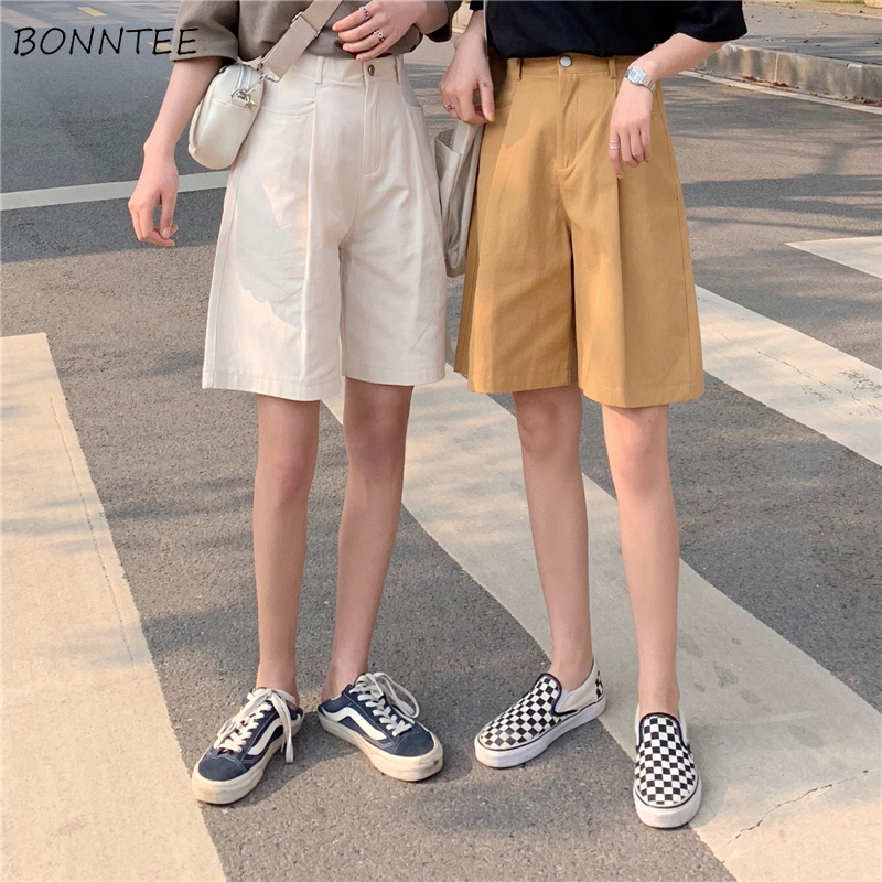 Shorts Women Summer Solid Color Elegant Leisure All-match Short Womens Trendy Classic Wide Leg Chic Korean Ladies Pockets Zipper