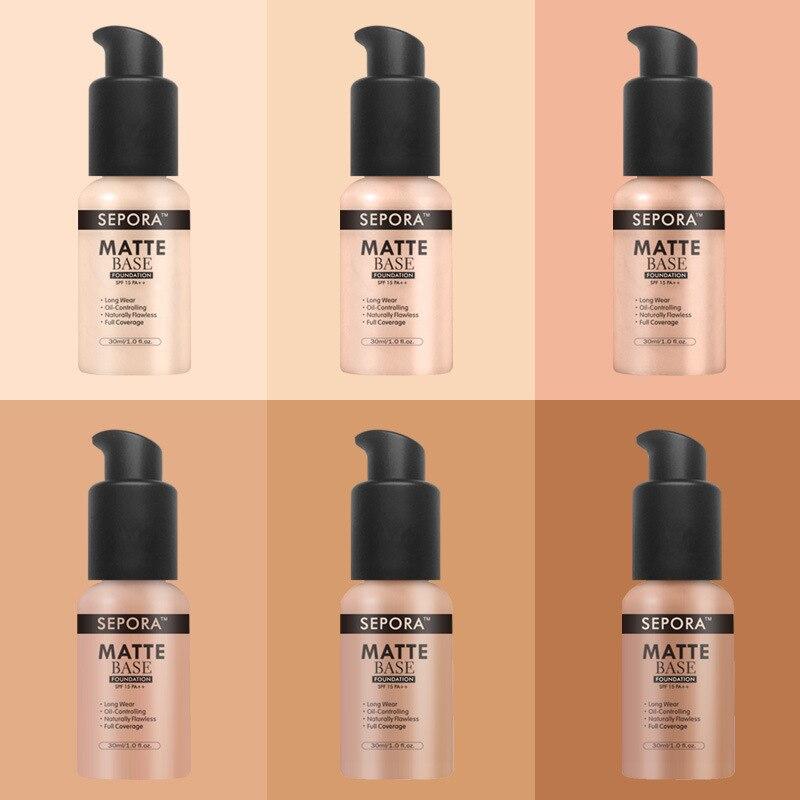 SEPORA Makeup Foundation Matte Liquid Foundation New Beauty LongWearing Waterproof Makeup Base Cosmetic Natural Concealer Fluido