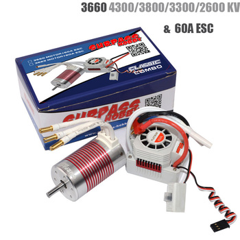 Platinum Waterproof 3660 4300/3800/3300/2600 KV Brushless Motor with 60A ESC Kit for 1/10 RC Car Truck Toy