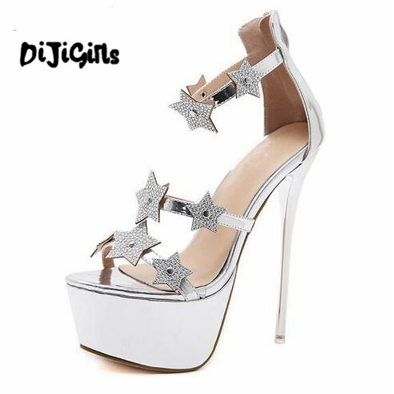 Summer Sexy Women Sandals High Heels Bling Crystal Open Toe Thin Heel Gladiator Sandals Platform Party Shoes Size 35-40 summer women sandals bohemia style high wedges heels wovens gladiator sandals with platform open toe casual shoes women h162 35