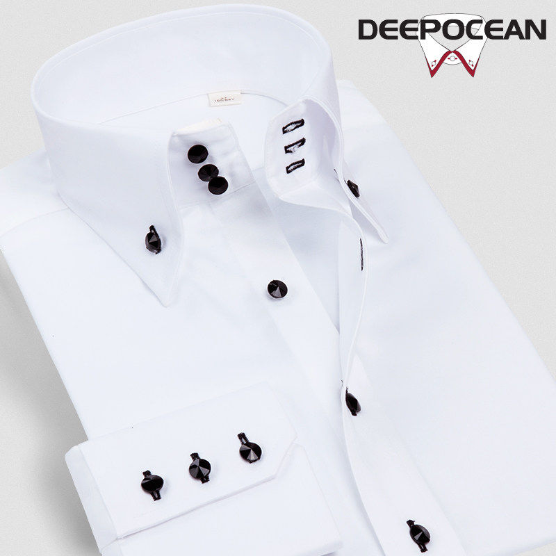 Deepocean Spring Autumn Men Shirt Cotton Shirts Men Clothes Fashion Casual Shirts Plsu Size Business Shirt Brand Clothing