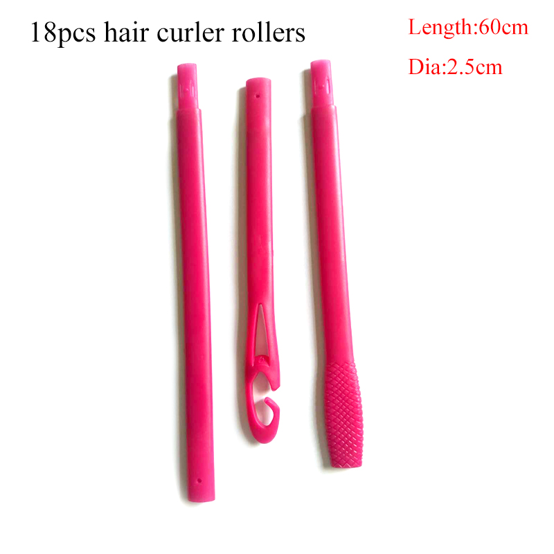18 pcs set 60 cm long hair rollers with diameter 2 5 cm Magic hair curler hair styling tools for 2018 new product in Hair Rollers from Beauty Health