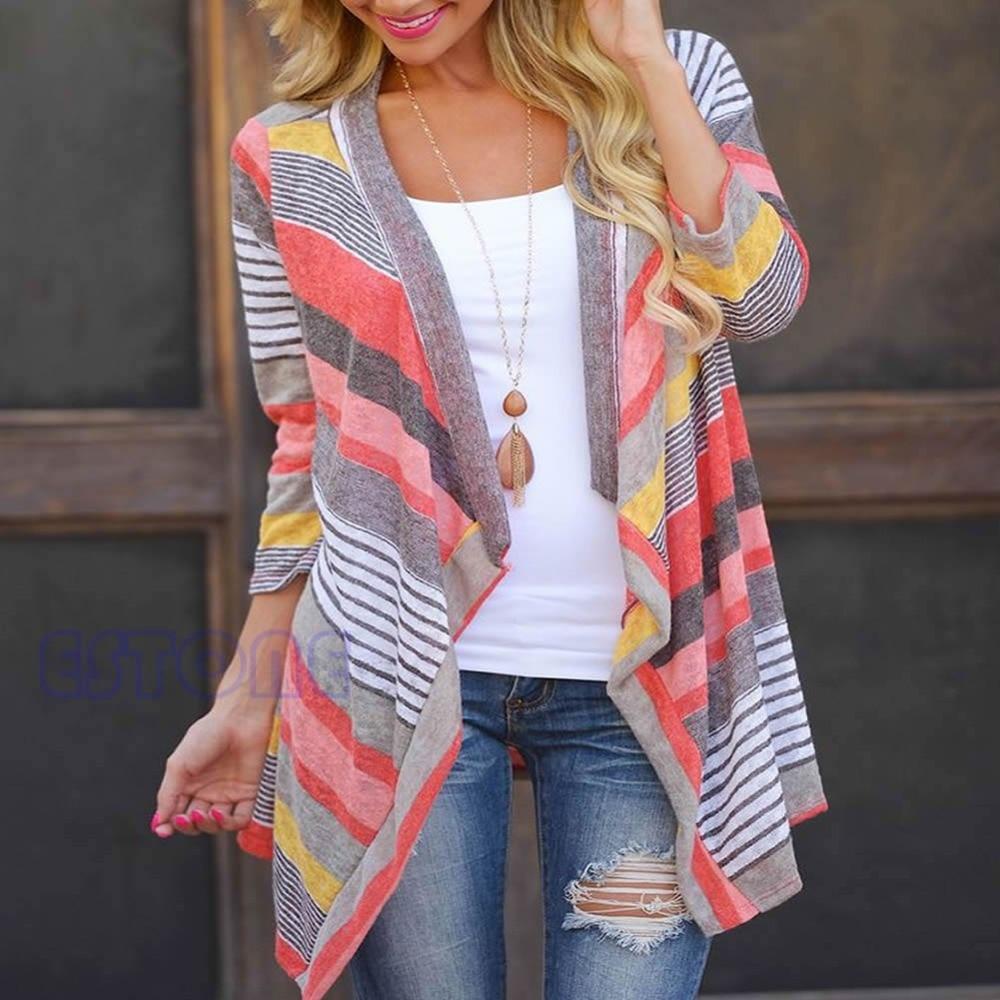 Women Fashion Long Sleeve Striped Cardigan Coat Tops Tribal Print Asymmetrical Female Cotton Open Stitch Stylish Collarless Top