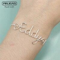 Pinjeas пользовательское имя браслет Уникальный персонализированные слова письма wire wrap дети особенно подружки невесты для девочек подарок дл...
