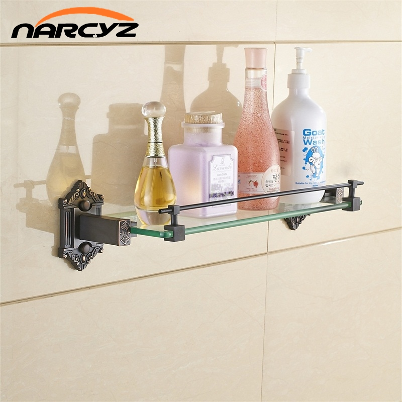 European - style retro cosmetics shelf racks shelves Chinese antique copper bathroom storage glass table 9138K square corners hanging antique copper 2 candelabra sockets clear glass