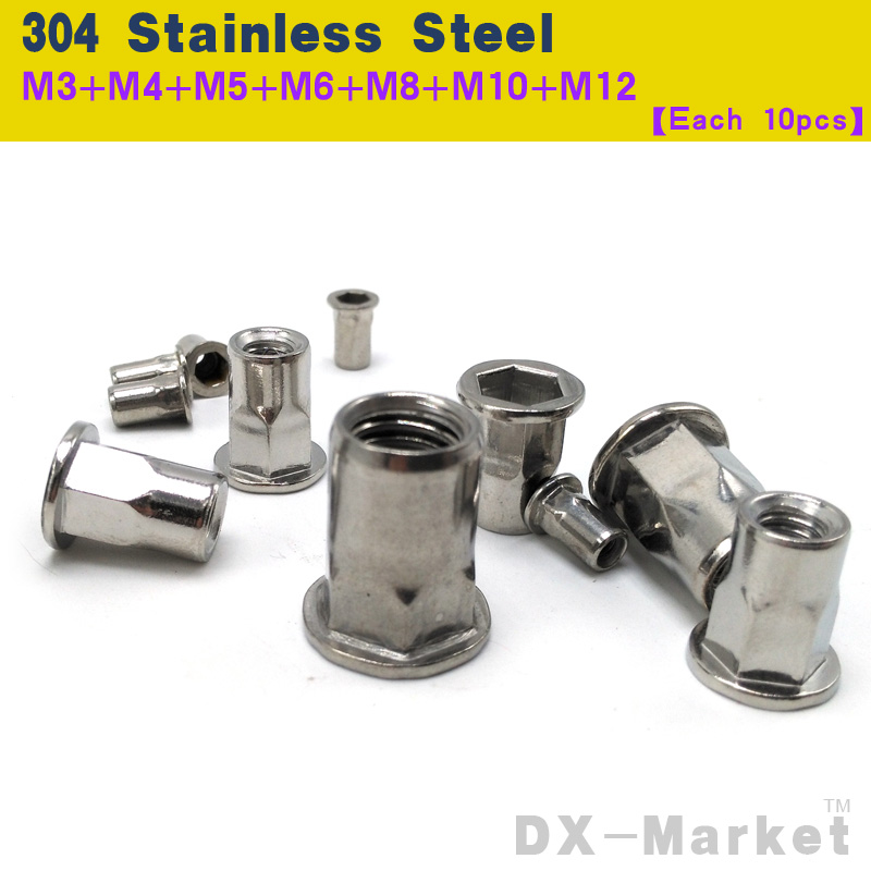 M3-M12 , each 10pcs , semi-hexagon riveting nut 304 stainless steel Rivet nuts insert nut , high quality Chinese nuts цены онлайн