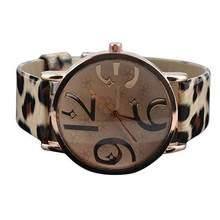 9a6e0c891a68 Casuales de las mujeres de grandes números Dial correa de cuero del Faux de cuarzo  reloj