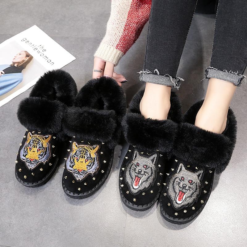 Corto Wolf Tubo 2019 40 Nuevo 35 Zapatos Personalidad Integración Elegante Planos Engrosamiento Mujer tiger Térmico Tamaño De Botas gxaXqS