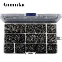 Anmuka Hight Quality Bulk Sharped 3 12 Fishing Hooks Box 800 1600 2000 Pcs Silver Black