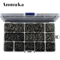 Anmuka Hight Quality Bulk Sharped 3 12 Fishing Hooks Box 800 1600 2000 Pcs Silver Black