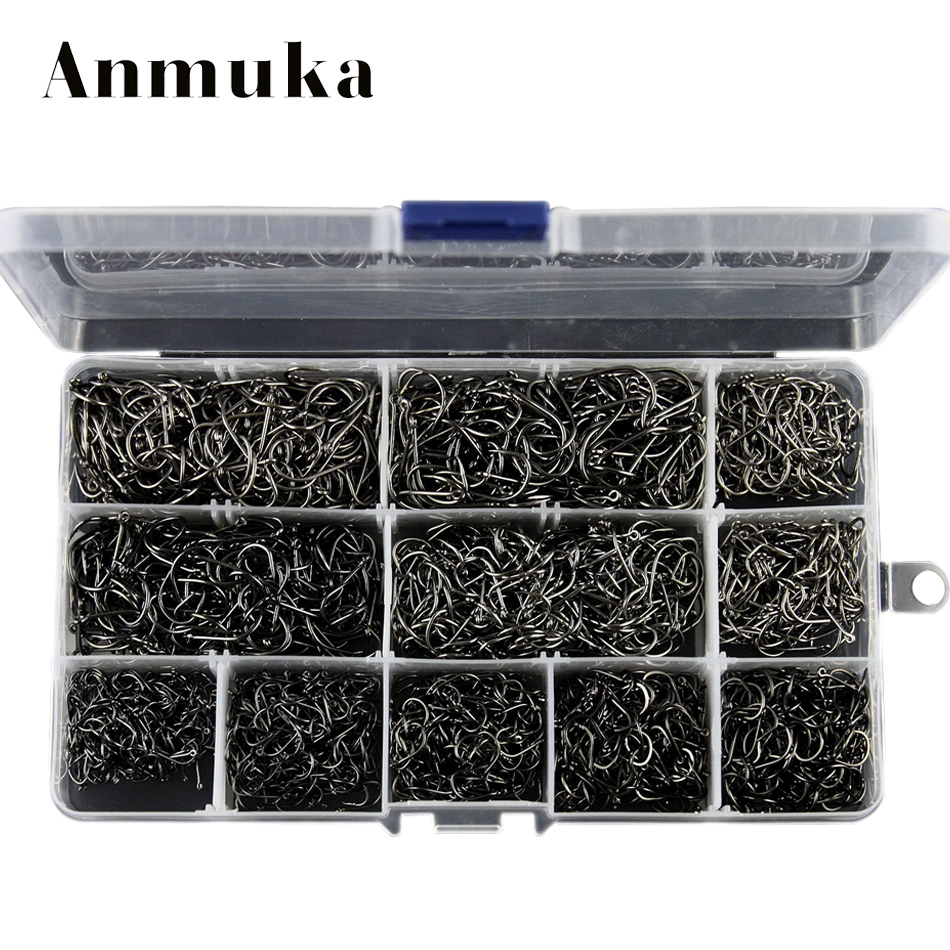 Anmuka Hight Quality Bulk Sharped 3-12# fishing hooks box 800/1600/2000 pcs silver/black Ring Forged Carbon Steel Hook Wholesale модем xdsl asus dsl n14u rj 11 adsl2